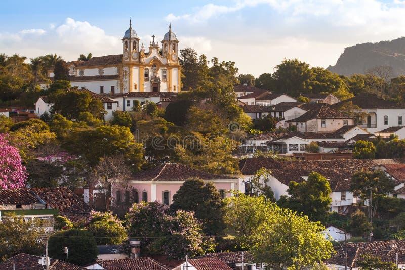 Частично взгляд исторического города Tiradentes, мин Gerais, Бразилии стоковое фото