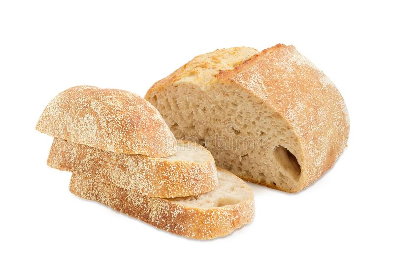 Частично отрезанный хлеб sourdough пшеницы с отрубями стоковая фотография rf