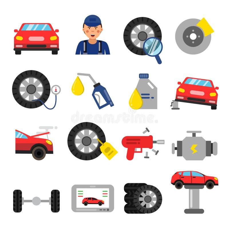 Части автомобиля Обслуживание колес и автошин автомобилей Изображения вектора в плоском стиле иллюстрация вектора