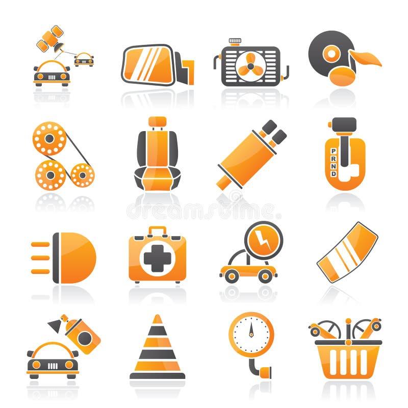 Части автомобиля и значки обслуживаний иллюстрация вектора