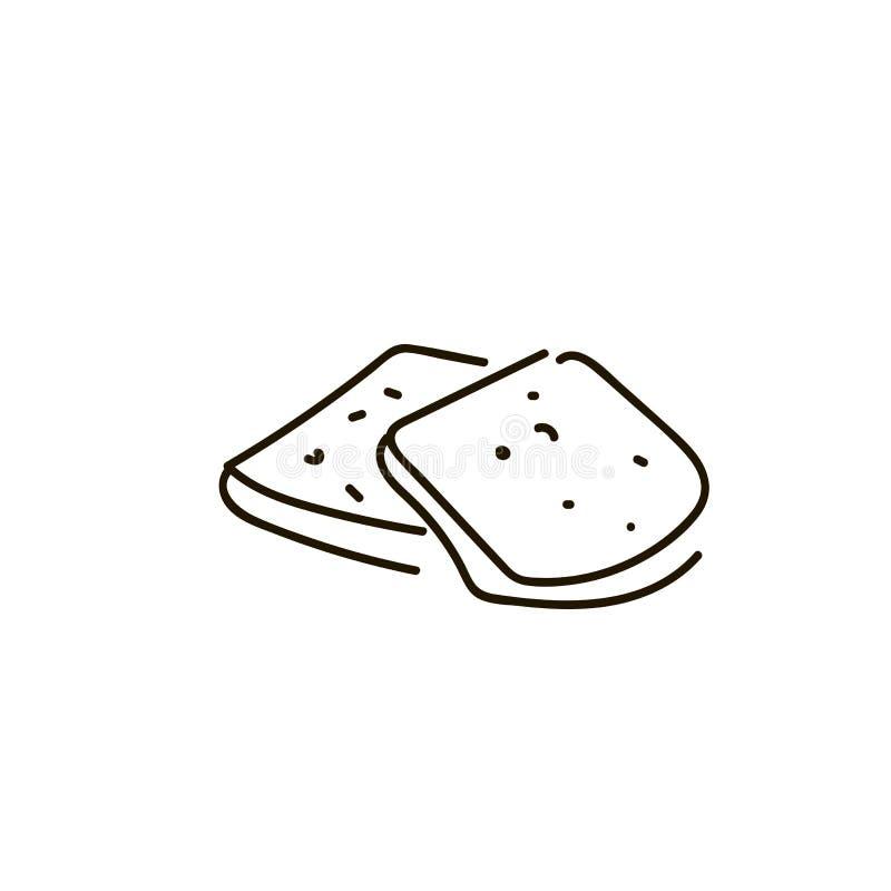 3 части белого хлебца на белой предпосылке иллюстрация вектора