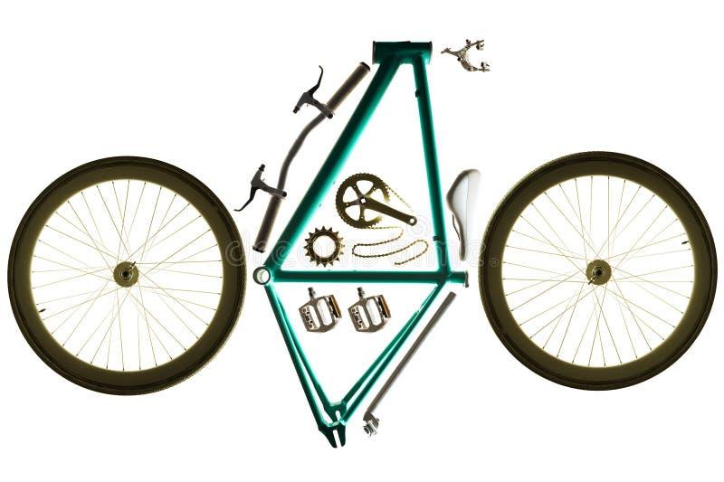 Части велосипеда для собирать изготовленный на заказ велосипед стоковые фото