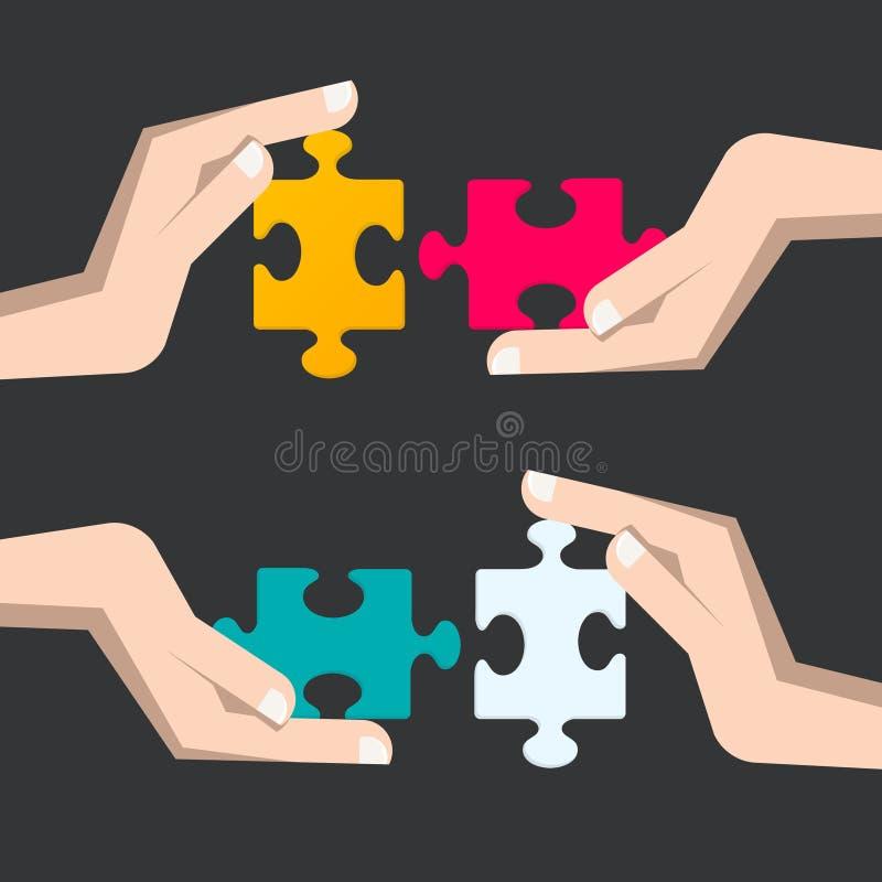 Части головоломки в человеческих руках иллюстрация вектора