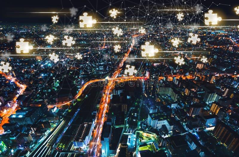 Части головоломки с городом Осака, Японией стоковое фото rf