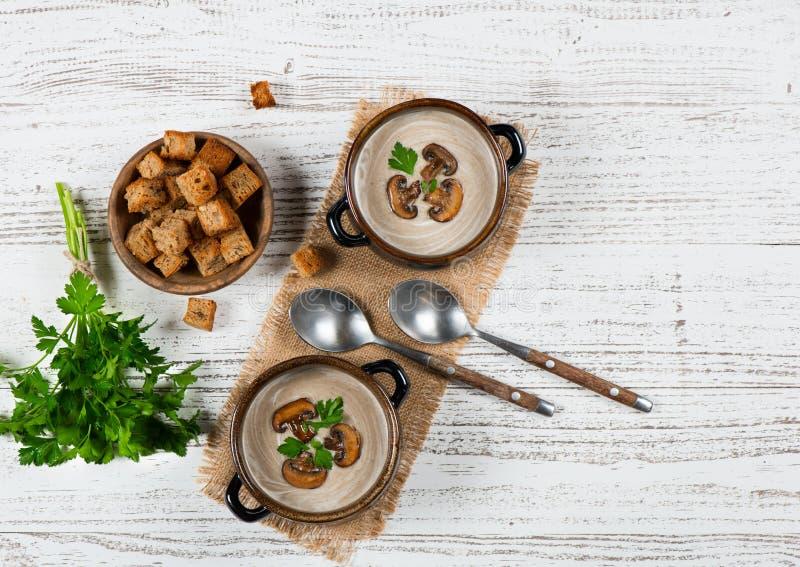 2 части гриба cream суп, над взглядом стоковые изображения