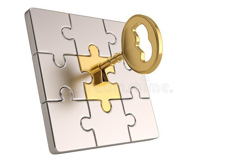 Части золотого ключа и головоломки на белой предпосылке иллюстрация 3d иллюстрация штока
