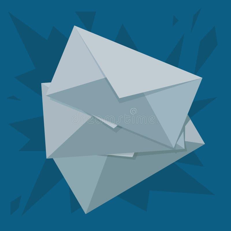 3 части конвертов на поле иллюстрация вектора
