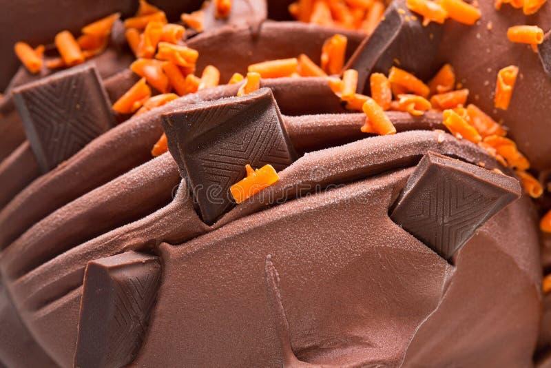 Части мороженого и шоколада макроса r стоковые фотографии rf