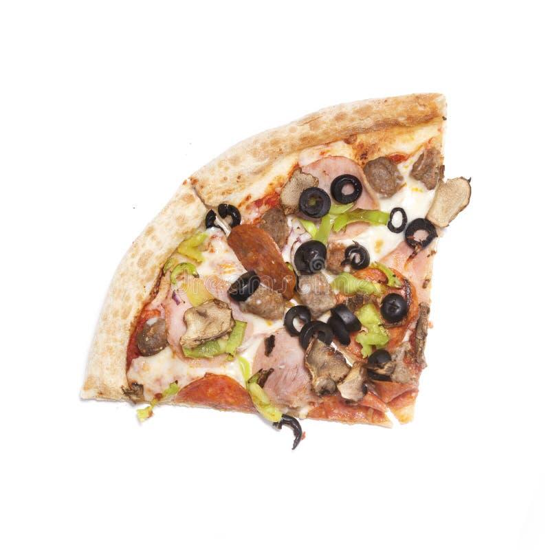 2 части пиццы на белой предпосылке стоковые изображения rf