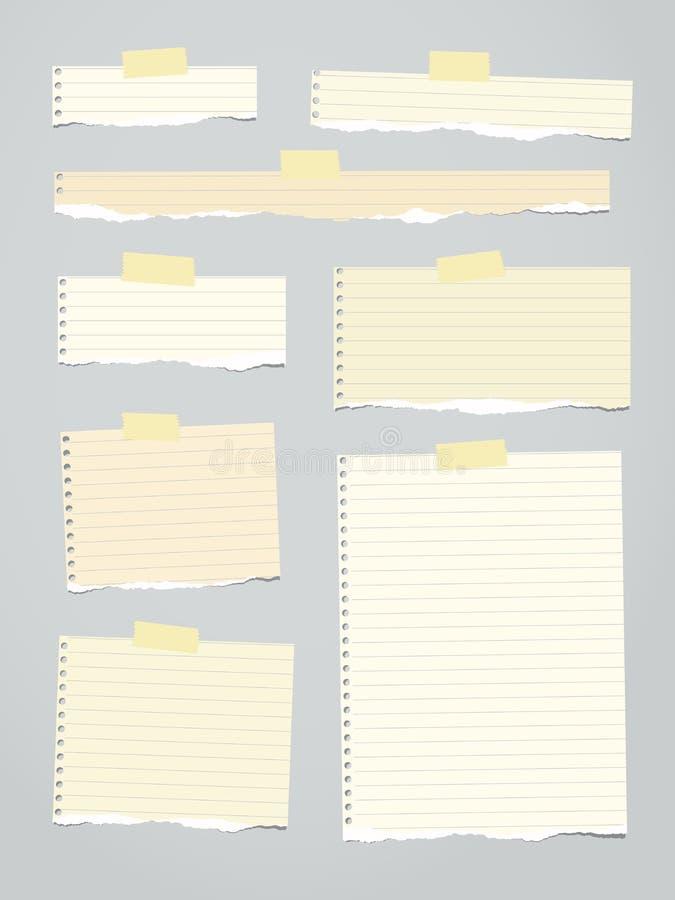 Части русой управляемой сорванной бумаги примечания с желтым прилипателем, липкая лента вставлены на предпосылке иллюстрация штока