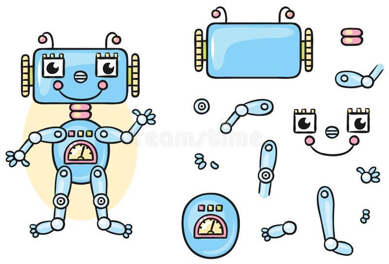 Части тела робота для детей, который нужно положить совместно иллюстрация вектора
