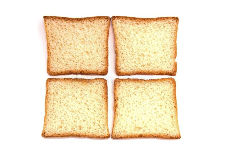 4 части хлеба тоста на белой предпосылке стоковые фото