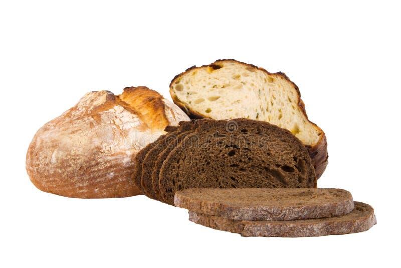 Части хлеба изолированные на белизне стоковые изображения rf