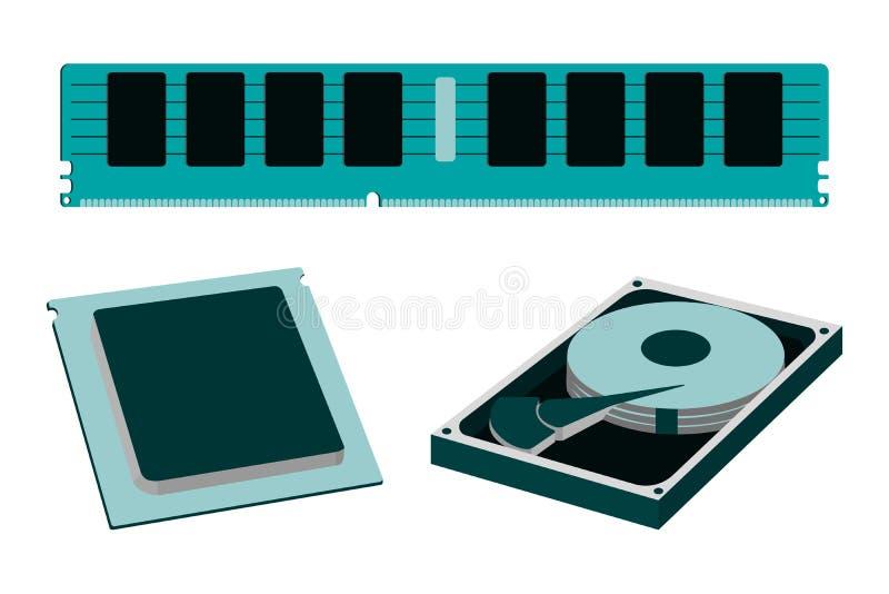 Части шаржа для личного значка ПК HDD, RAM, C.P.U. бесплатная иллюстрация