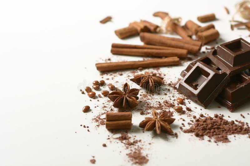 Части шоколада, циннамона, анисовки звезды и бурого пороха на белой предпосылке стоковое фото rf