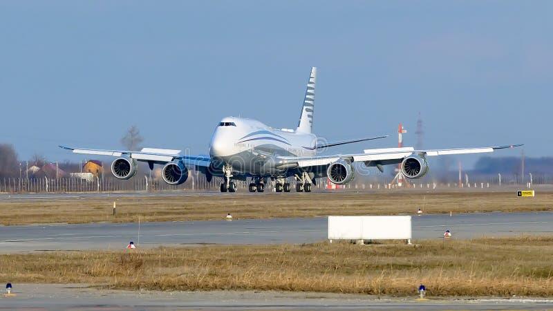 Частное громоздк двухэтажного автобуса авиалайнера аэробуса A380 - двигатель стоковые изображения