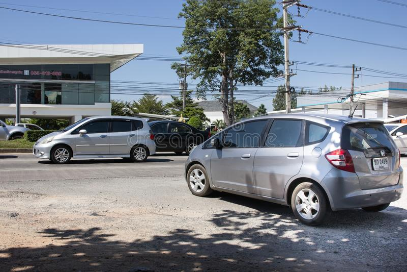 Частный джаз Honda автомобиля города Автомобиль хэтчбека 5 дверей Фото на дороге никакой 121 около 8 стоковые изображения