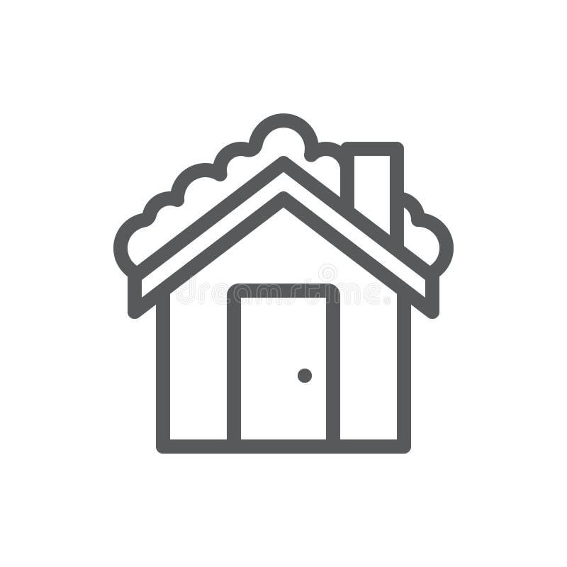 Частный дом с крышей предусматриванной со значком снега editable - элементом зимы сезонным снежного здания деревни в линии искусс иллюстрация вектора