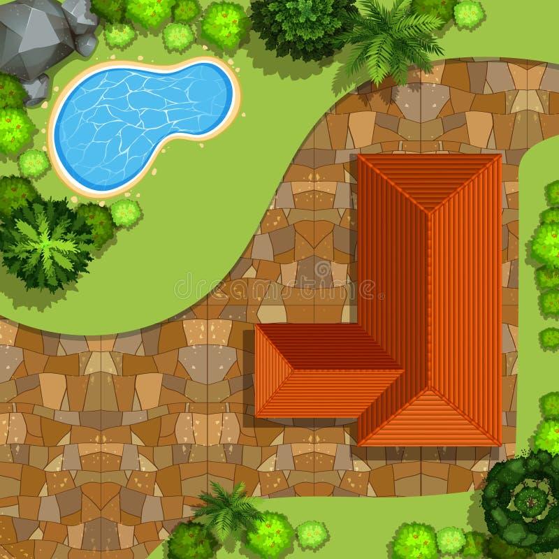 Частный дом с бассейном иллюстрация вектора