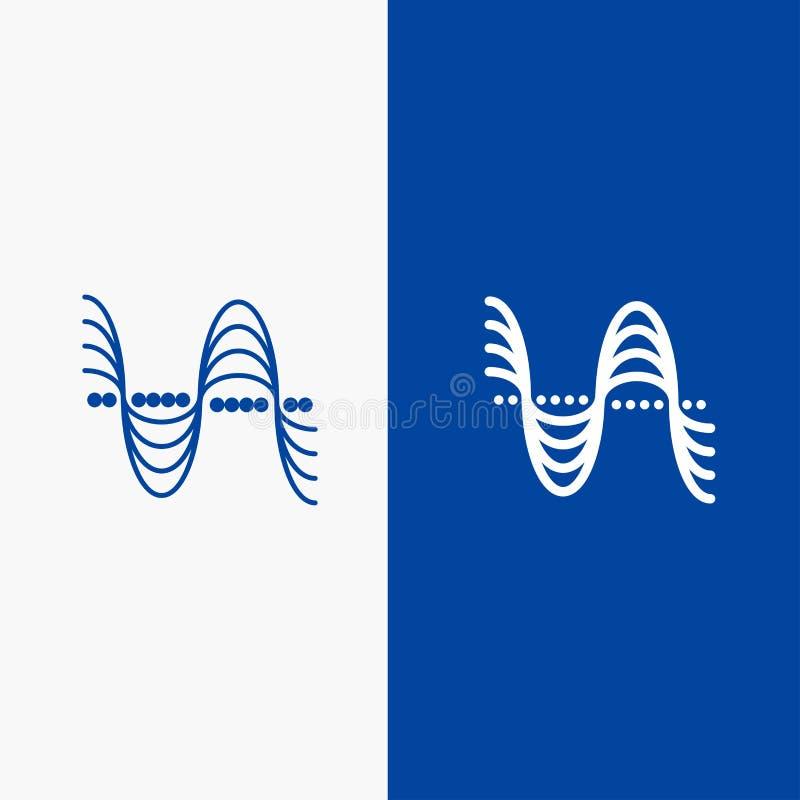 Частота, Герцы, тангаж, давление, значка линии и глифа знамени ядрового значка линии и глифа твердого знамя голубого твердого гол иллюстрация штока