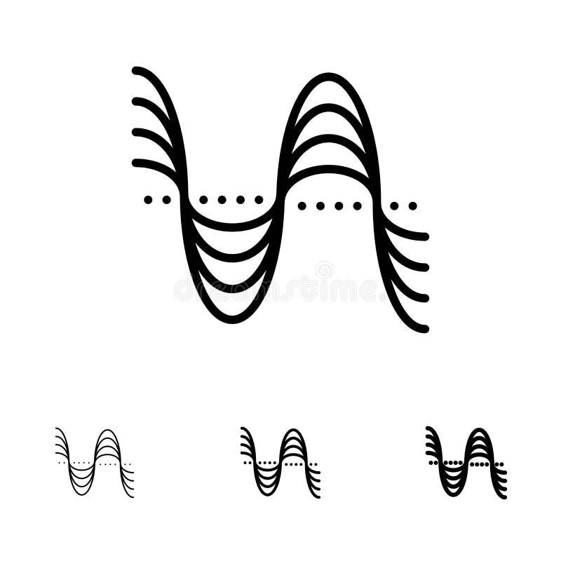 Частота, Герцы, тангаж, давление, ядровая смелая и тонкая черная линия набор значка бесплатная иллюстрация