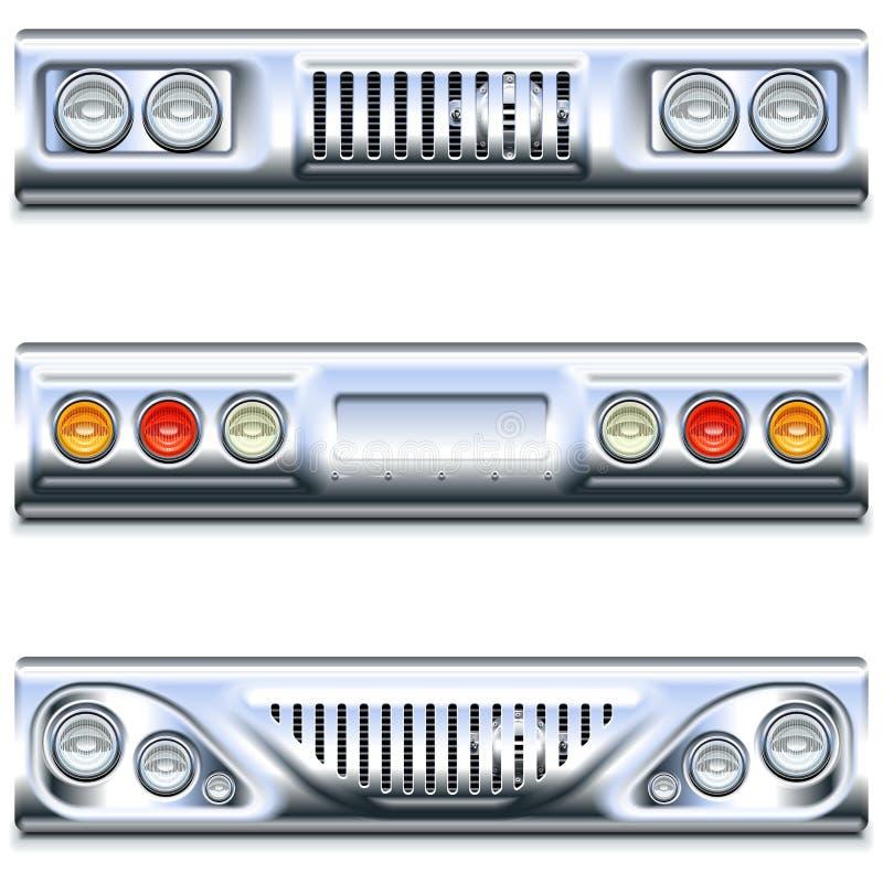 Часть автомобиля вектора спереди и сзади иллюстрация вектора