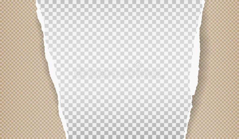 Часть белой сорванной бумажной прокладки с приданной квадратную форму картиной и мягкой тенью на коричневой предпосылке r иллюстрация штока