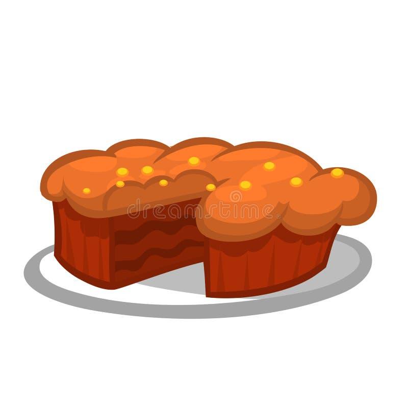 Часть благодарения пирога тыквы Национальный праздник еда традиционная Изолированная иллюстрация шаржа иллюстрация вектора