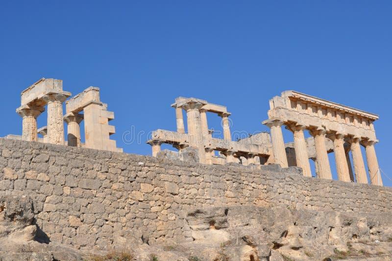 Греческий стародедовский висок - Aphaia - Aegina стоковые изображения