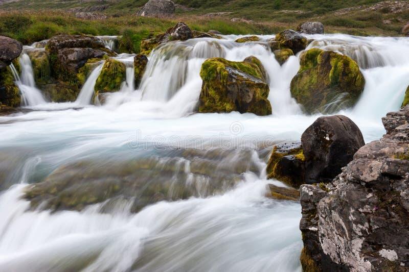 Часть водопада Dynjandi, долгой выдержки, Исландии стоковое изображение