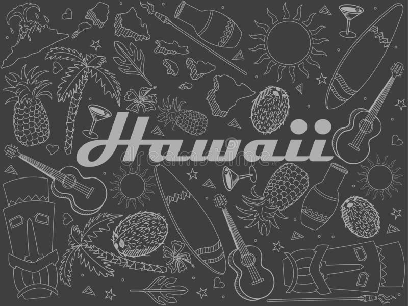 Часть Гаваи линии растра мела дизайна искусства Отдельные объекты Нарисованные рукой элементы дизайна Doodle иллюстрация штока
