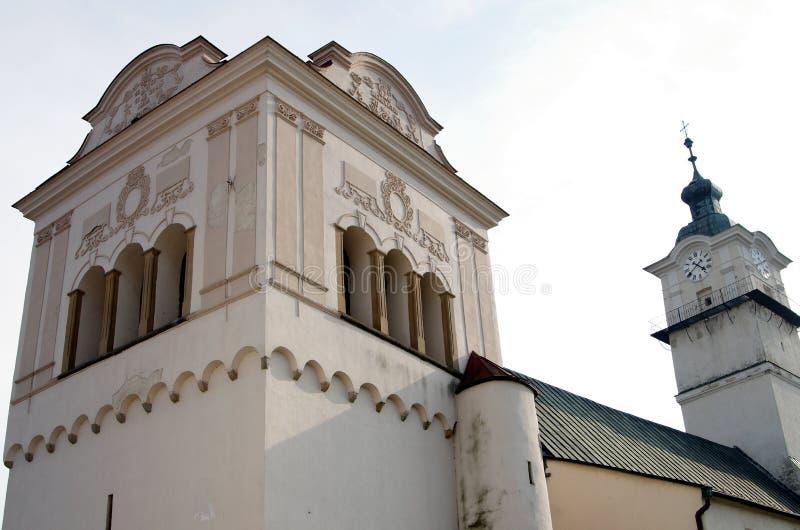 Часть главной площади исторического городка Spisska Sobota, в настоящее время района города Poprad стоковая фотография rf
