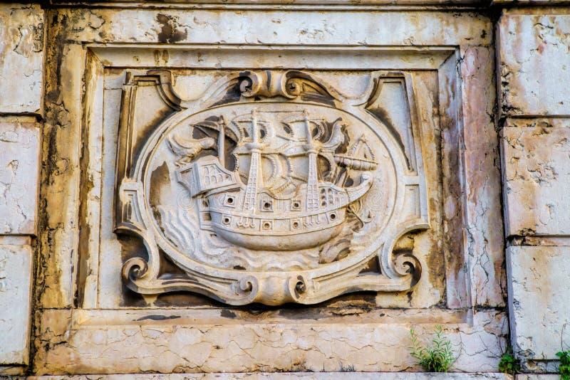 Часть детали экстерьера здания lisbon Португалия стоковые фото