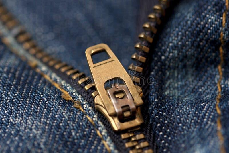Часть джинсовой ткани с молнией стоковые изображения rf