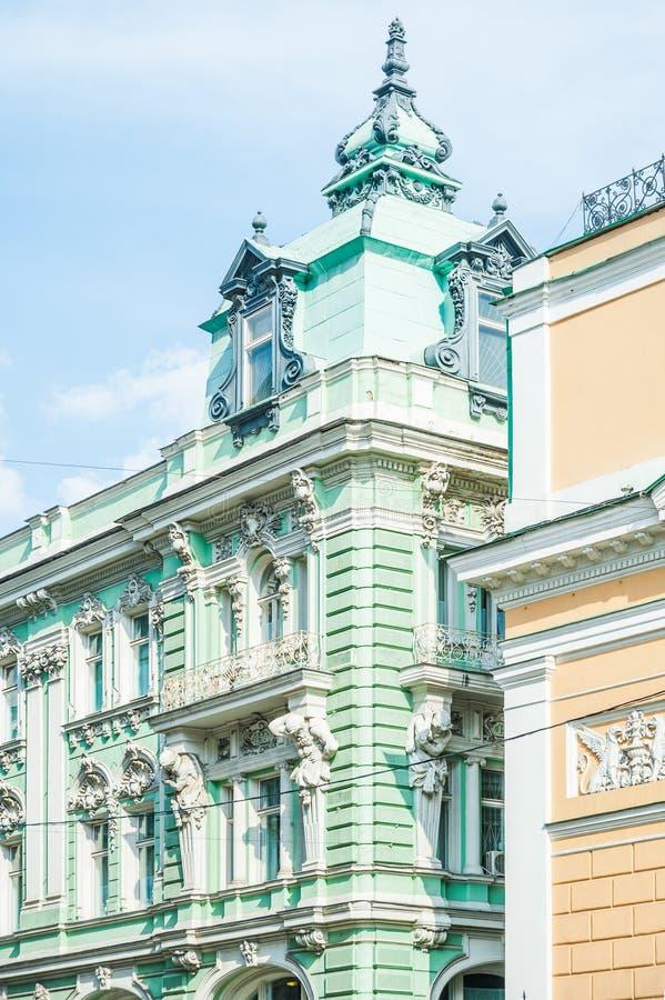 Часть здания на улице Ilinka стоковые фотографии rf