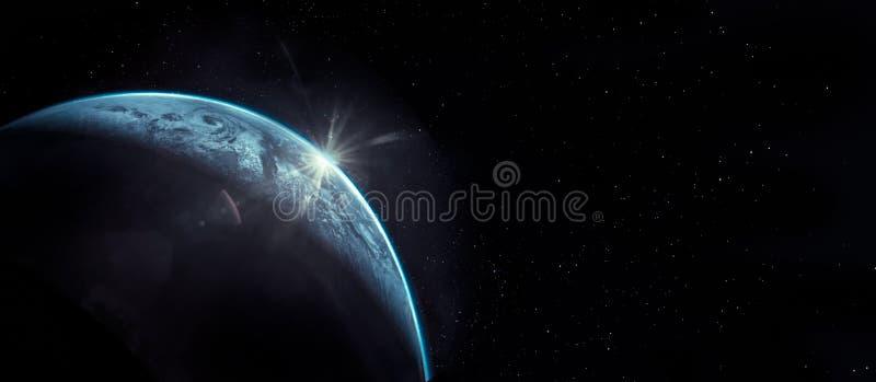Часть земли с подъемом солнца и объектив flare стоковое изображение rf