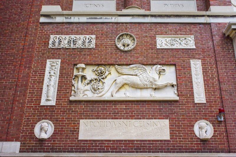 Часть здания Гарвардского университета на дворе Гарварда в Cambr стоковая фотография