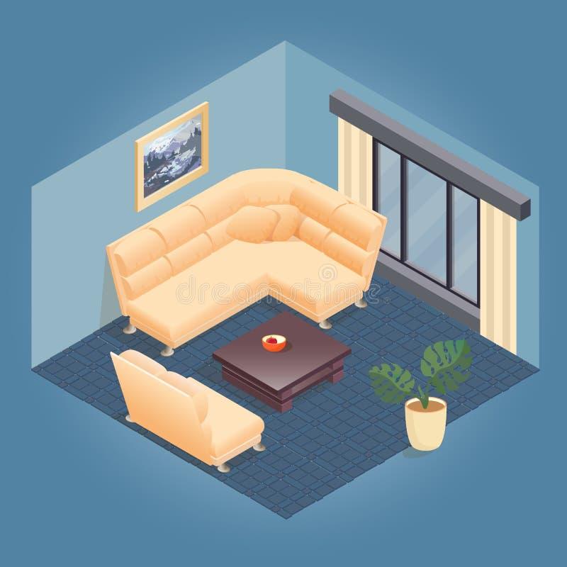 Часть интерьера с детальным равновеликим комплектом мебели бесплатная иллюстрация