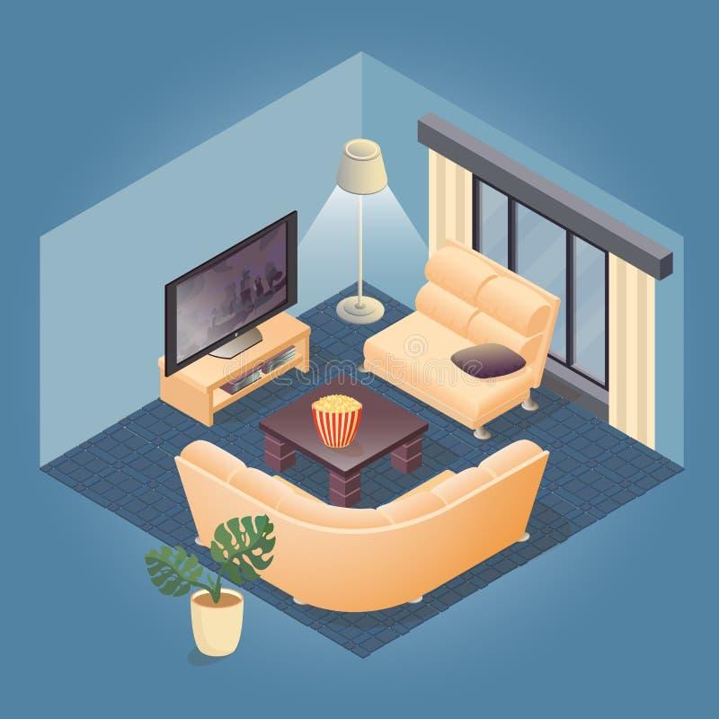 Часть интерьера с детальным равновеликим комплектом мебели иллюстрация вектора
