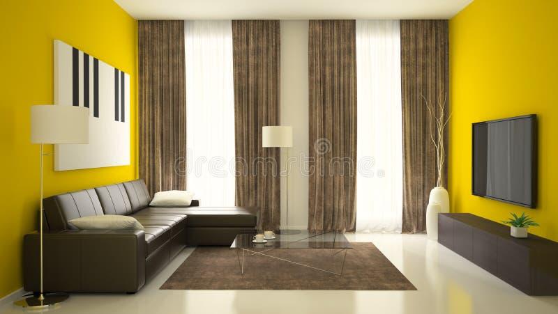 Часть интерьера с желтыми стенами стоковое изображение