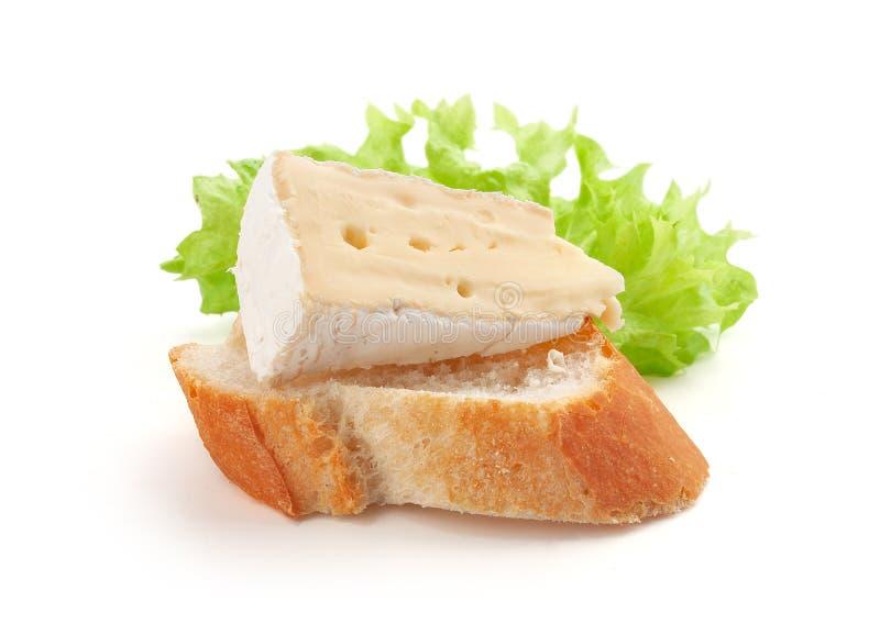 Часть камамбера на хлебе стоковое изображение