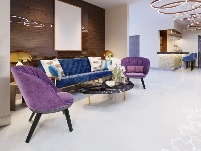 Часть лобби роскошной гостиницы 5 звезд роскошная софа со стульями и таблица журнала с цветками Гостиная иллюстрация вектора