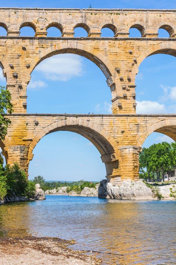 Часть моста - мост-водовод Pont du Гар стоковое фото rf
