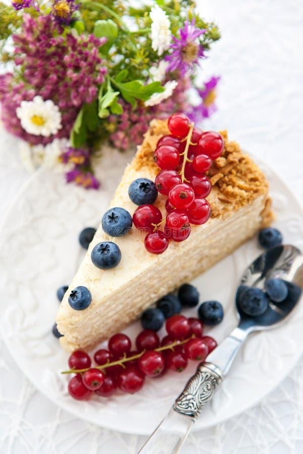 Часть домодельного торта меда с свежими ягодами стоковые фото