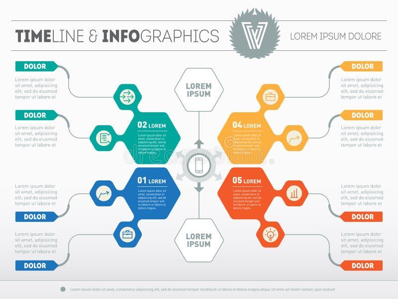 Часть отчета с логотипом и установленных значков Вектор infographic o иллюстрация штока