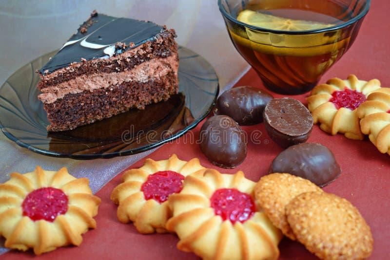 Часть очень вкусного шоколадного торта стоковые фото