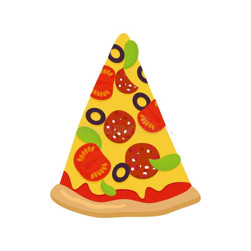 Часть пиццы на белой предпосылке Томаты и сыр сосиски иллюстрация штока