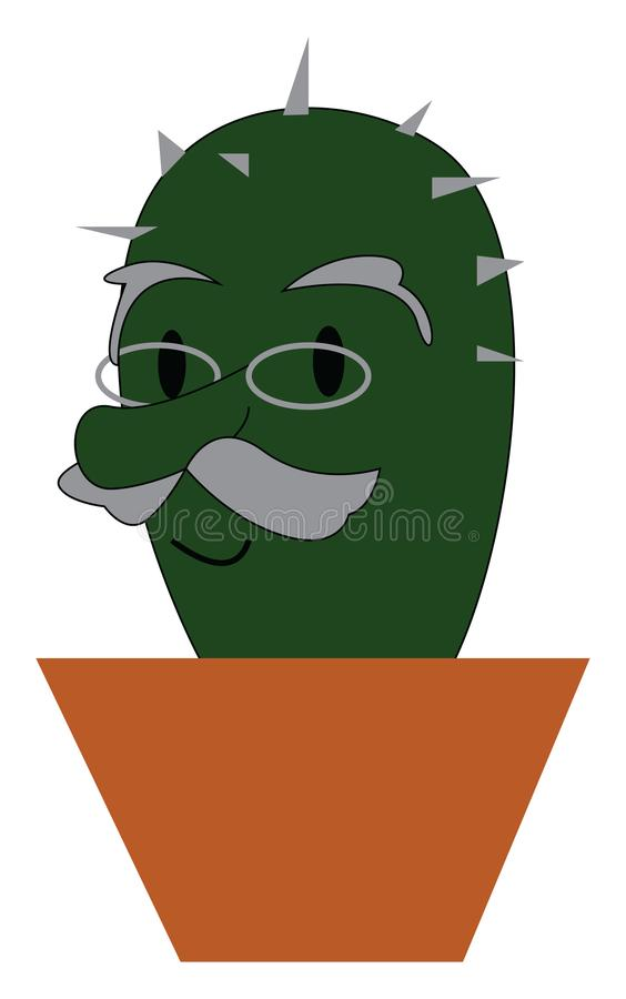 часть растения кактуса, выращенного в заземленном горшочке, окрашенном в векторный цвет или на иллюстрации иллюстрация вектора