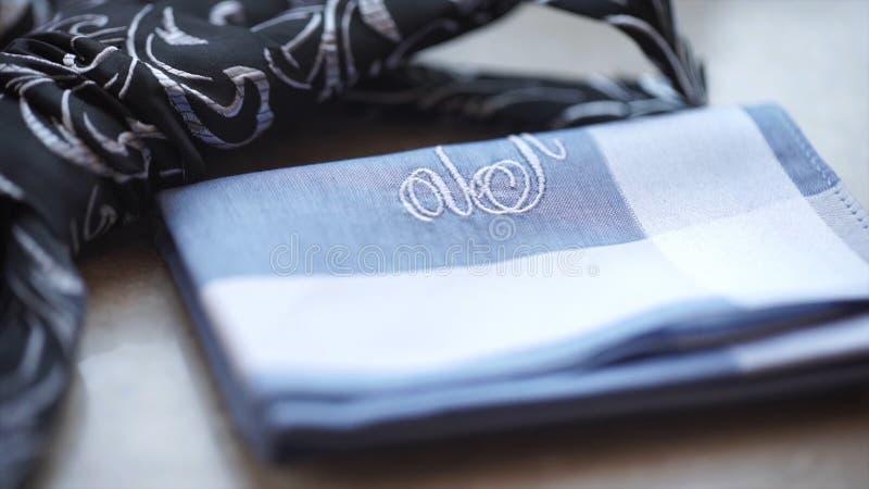 Часть рубашки ` s людей с связью на поле связь и носовой платок ` s людей Костюмы ` s людей одевают полотенце аксессуаров карманн стоковое изображение