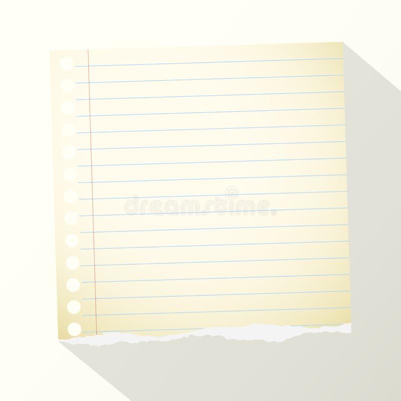 Часть сорванного желтого цвета выровняла бумагу тетради на светлой предпосылке иллюстрация вектора
